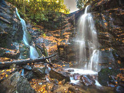 Soco Falls in Maggie Valley NC is a double falls